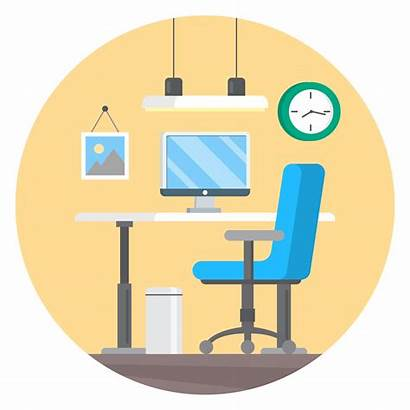 Office Desk Vector Station Clipart Graphics Workplace
