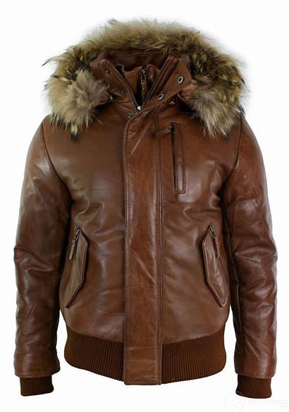 Jacket Leather Mens Tan Fur Bomber Hood