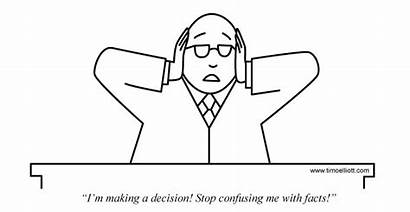 Cartoon Making Decisions Disruption Facts Confusing Digital