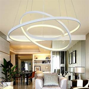 Modern, Led, Pendant, Light, Living, Room, Decor, Acrylic, Dimmable, 3, Circles, Hanging, Lamp, With