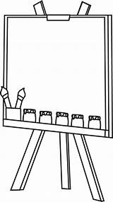 Easel Clip Blank Canvas Outline Paint Graphics Jars sketch template