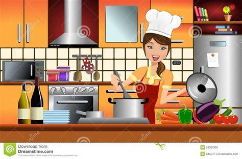 femme cuisine cuisinière heureuse de femme dans une cuisine moderne