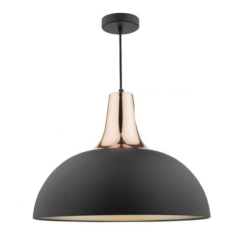 smart modern matte black and copper ceiling pendant with