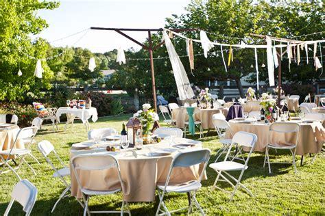 backyard reception  diy streamers elizabeth anne