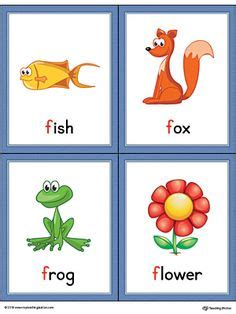 letter p words and pictures printable cards porcupine letter f words and pictures printable cards fish fox 62804
