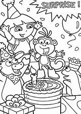 Coloring Birthday Pages Dora Surprise Explorer Boots Friend Getcolorings Netart sketch template