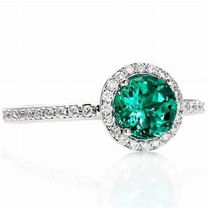14K Emerald Engagement Ring Diamond Halo Emerald Ring May ...
