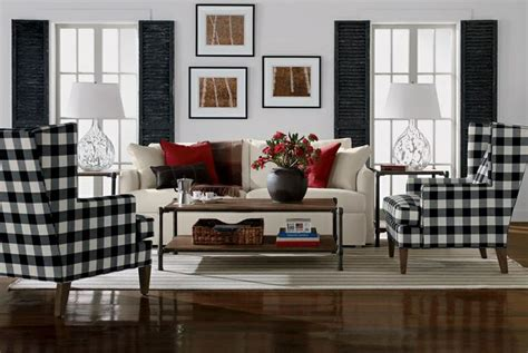 ethan allen plaid chairs living room