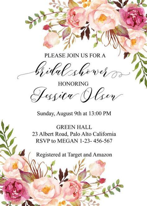 boho chic bridal shower invitation template blush floral
