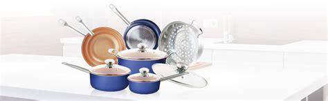 amazoncom pc navy blue copper ceramic coated pots  pans cookware set nonstick ceramic