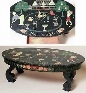 Folk art hand painted oval coffee table rafael osona for Golf coffee table