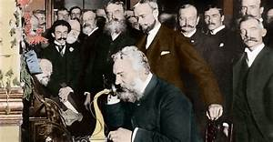 Alexander-graham-bell-making-telephone-call-2 - Inventions  Communication Pictures