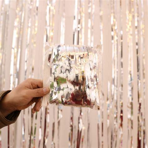 metallic foil fringe curtains silver metallic foil fringe shimmer curtain backdrop for