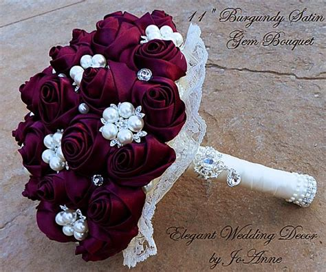 Satin Burgundy Wine Jeweled Bouquet Brooches Satin And