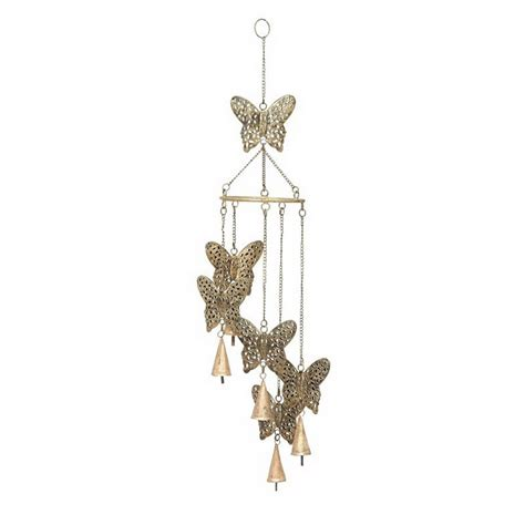 butterfly wind chimes shop woodland imports 28 in l brown butterfly metal wind chime at lowes com