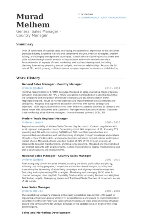 General Manager Sle Resume by General Sales Manager Resume Sles Visualcv Resume Sles Database