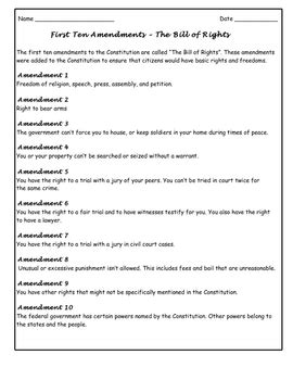 First Ten Amendments Bill Of Rights By Ruth S Tpt