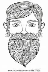 Beard Coloring Pages Adult Mustache Template Tattoo Portrait Vector Zentangle sketch template
