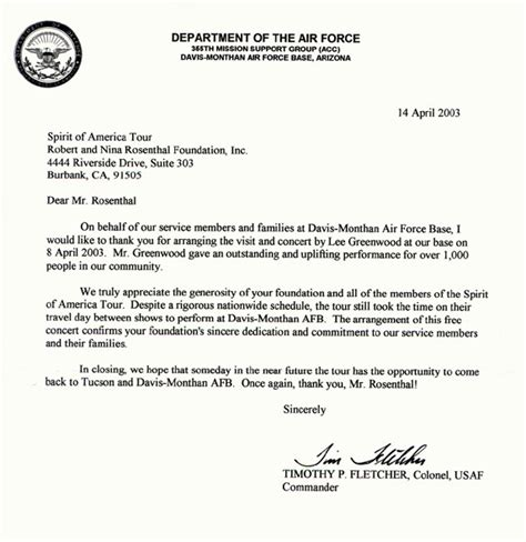 army letter  appreciation
