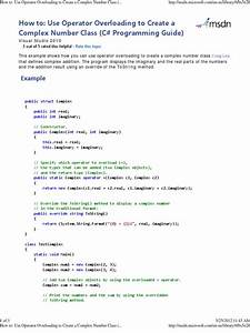 Use Operator Overloading To Create A Complex Number Class