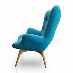 Fauteuil Bleu Ciel En Tissu Design KENDALL