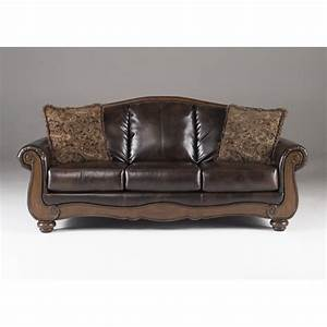 Ashley barcelona faux leather sofa in antique 5530038 for Ashley leather sofa
