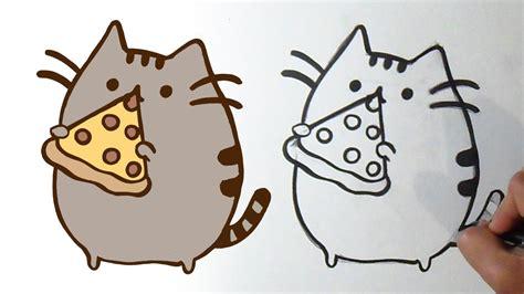 como dibujar gatito pusheen pizzero kawaii youtube
