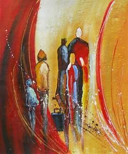 Tableau Peinture Moderne : peinture contemporaine silhouette famille ~ Teatrodelosmanantiales.com Idées de Décoration
