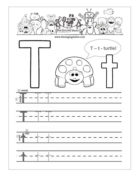 preschool letter t tracing worksheets them and
