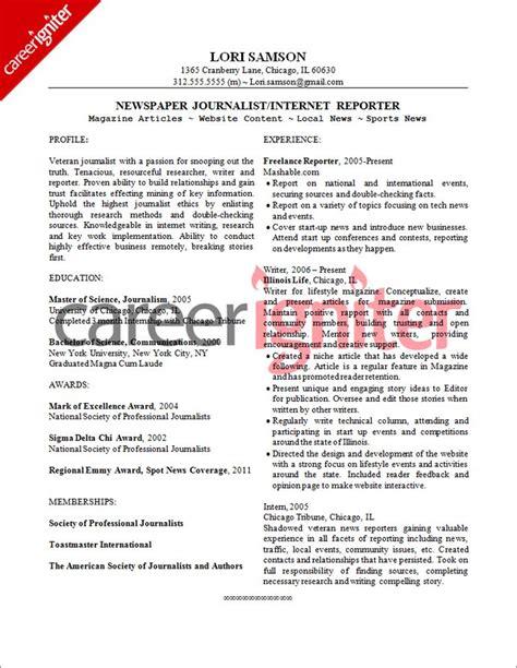 Journalist Resume Sle by Journalist Resume Sle Resume Resume Objective