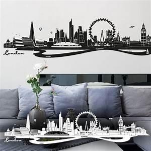 London Skyline Schwarz Weiß : wandtattoo london skyline big ben london eye ~ Watch28wear.com Haus und Dekorationen