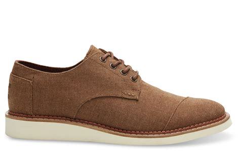 mens light brown oxfords toms brogue chambray oxfords in brown for men lyst
