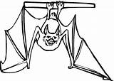 Bat Bats Coloring Hanging Upside Down Printable Drawing Clipart Crafts Paper sketch template