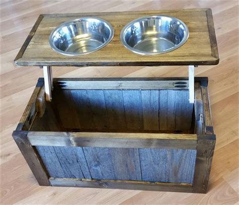 pet feeder station diy pallet bowl stand plans pallet wood projects