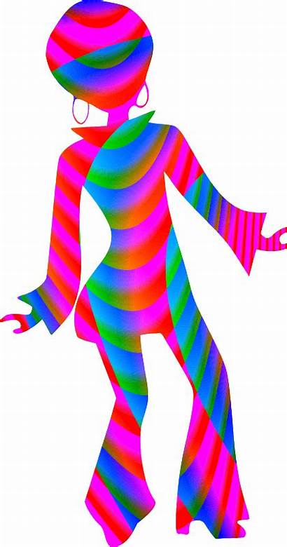 Disco Clipart Dancer Colourful Silhouette 70s Party