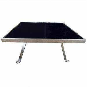 chrome and black glass cocktail table for sale at 1stdibs With black and chrome coffee table