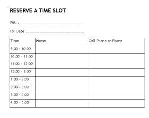 reserve time  hour blocks sign  sheet