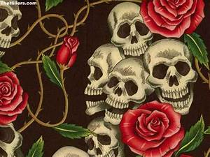 The gallery for --> Skull With Roses Wallpaper