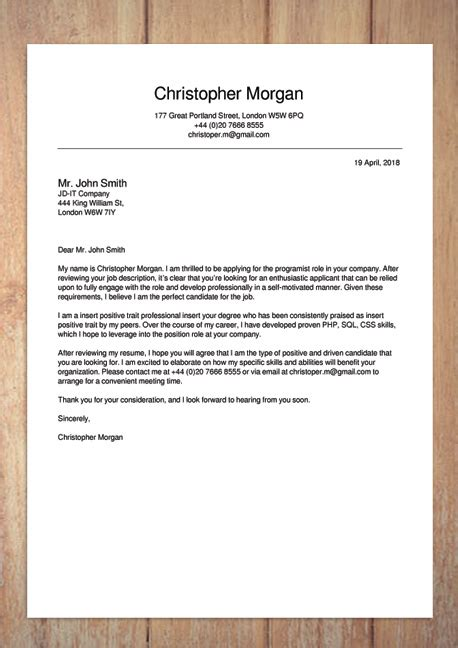 Cover Letter Builder by Cover Letter Builder Template Sles