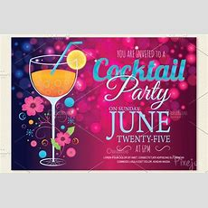 Cocktail Party Invitation Card  Postcard Templates
