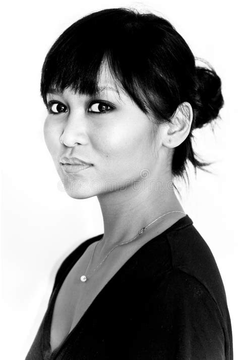 Black And White Portrait Of Asian Woman Stock Image