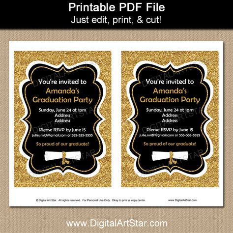 Fancy Graduation Invitations Black and Gold Glitter