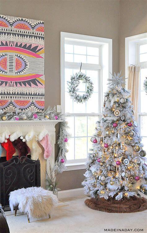 white pink black  brown boho flocked christmas