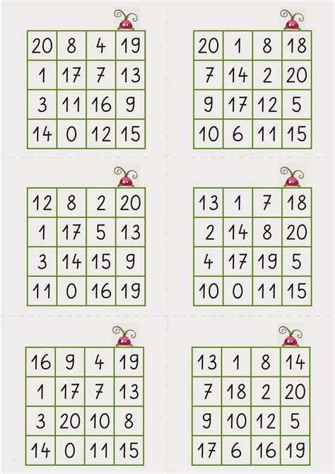 Domino zum 1x1 / diese aktivierung enthält 10 bingoscheine (auch spielscheine oder bingokarten genannt) auf denen. Bingo Vorlage Zum Ausdrucken Angenehm Lernstübchen Zahlen Lesen Bingofelder Zr 20   siwicadilly.com