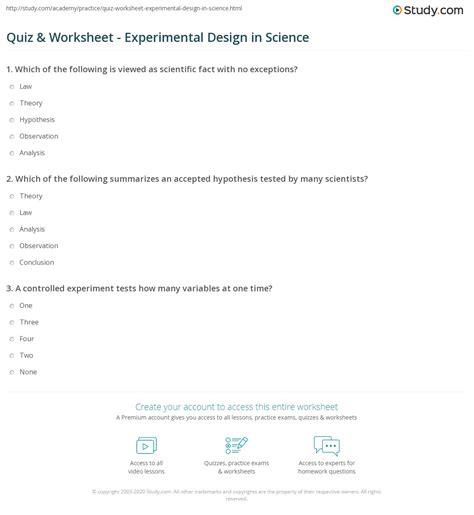 experimental design worksheet scientific method answers