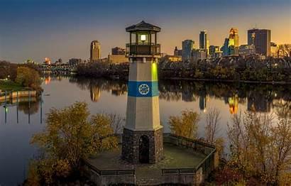 Minneapolis Minnesota Sunset Lighthouse Evening River Usa