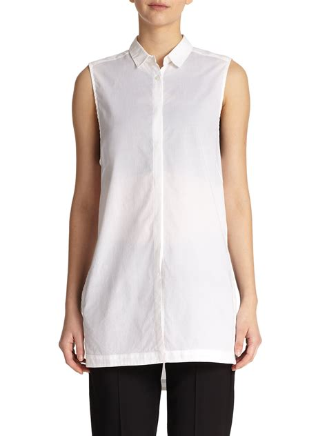 cotton blouses helmut lang sleeveless cotton tunic blouse in white lyst