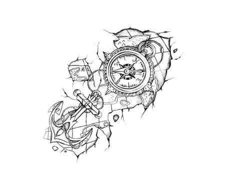 boussole avec ancre  carte conception de tatouage