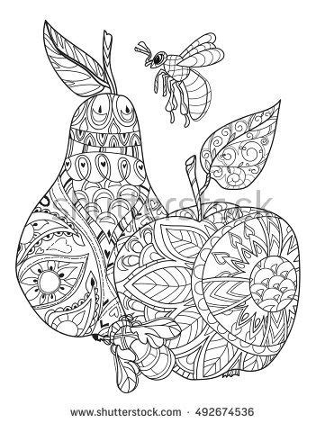Honey apple and pear doodle and bees.Hand drawn vector illustration. Sketch for tattoo adult