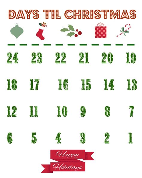 days till christmas template countdown to christmas calendar 2017 calendar printable 2018